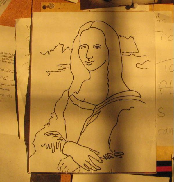 Mona Lisa in the Sunlight on a Buletin Board