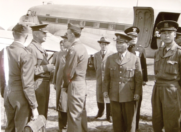 Key U.S. and Korean military officers at a meeting in Jeju in May 1948