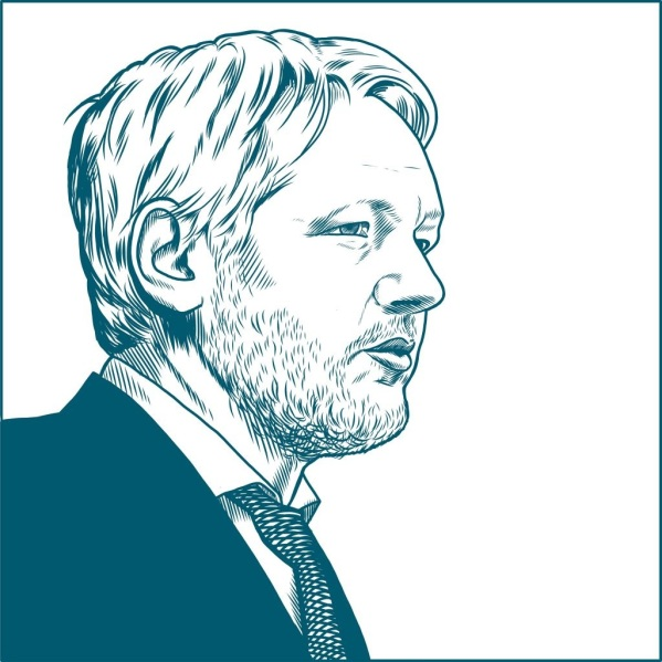 Assange line drawing