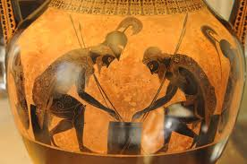 Greek heroes Achilles and Ajax playing a dice game