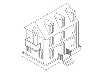 Residential house. Outline isometric drawing. Vector illustration isolated on white background