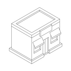 Store front. Outline isometric drawing. Vector illustration isolated on white background